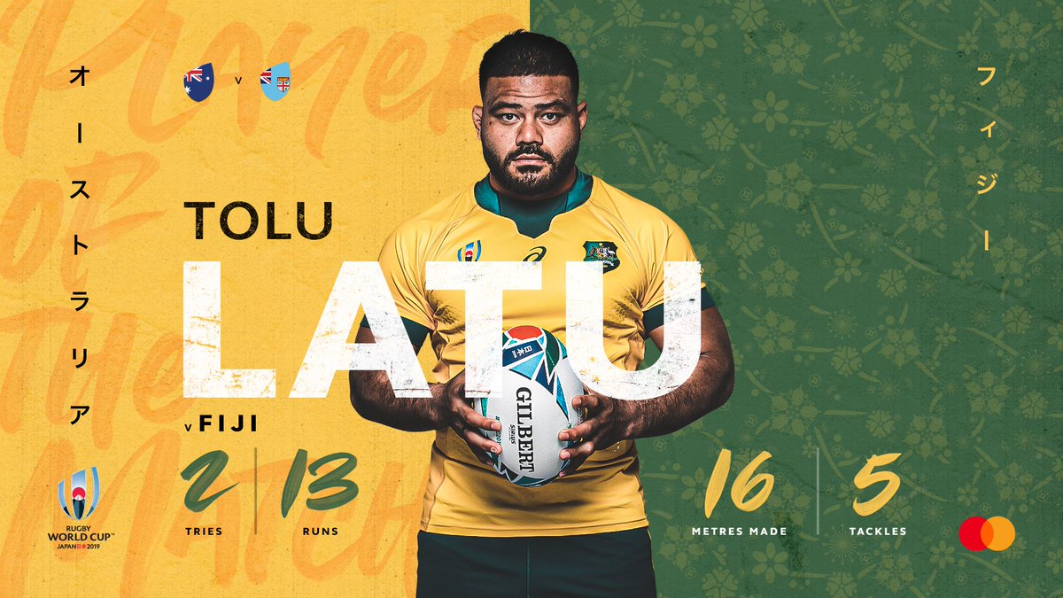 test Twitter Media - The @Mastercard #AUSvFIJ Player of the Match – Tolu Latu 👏   He wears 2 on his shirt and dotted down for 2 tries today 💯  Symmetry 👌  #SuperSaturday #RWC2019 #RWCTokyo https://t.co/2cuee1CeE1