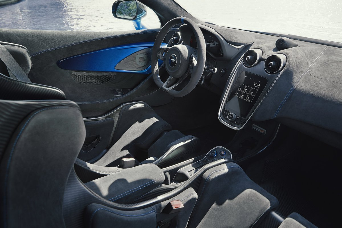Understated, subtle and elegant. McLaren Special Operations have shown once again that their artistry knows no bounds. Inside the beautiful 600LT MSO commissioned by McLaren Toronto, you're surrounded by Carbon Black Alcantara with contrasts of Cerulean Blue.