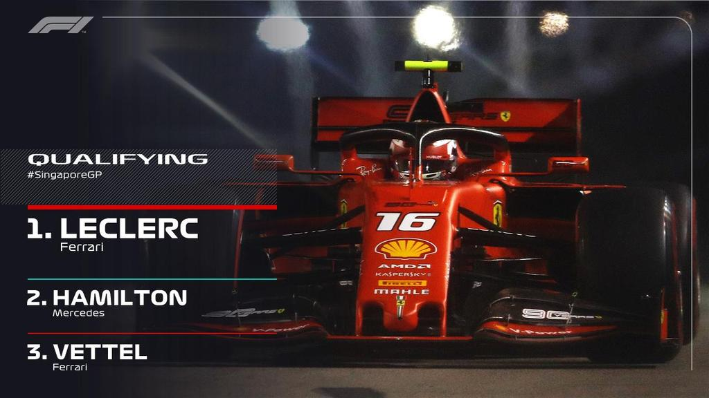 Super quali lap by @Charles_Leclerc to take pole. 💪 @F1 #SingaporeGP #SSF1 #forzaferrari