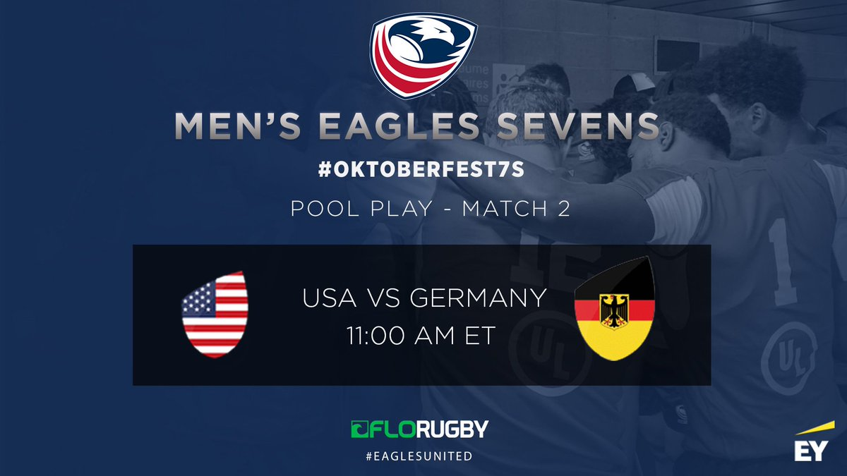 Game TWO. Lets do this! Watch on @FloRugby | bit.ly/2xRvDDf #EaglesUnited | #Oktoberfest7s | #USAvGER