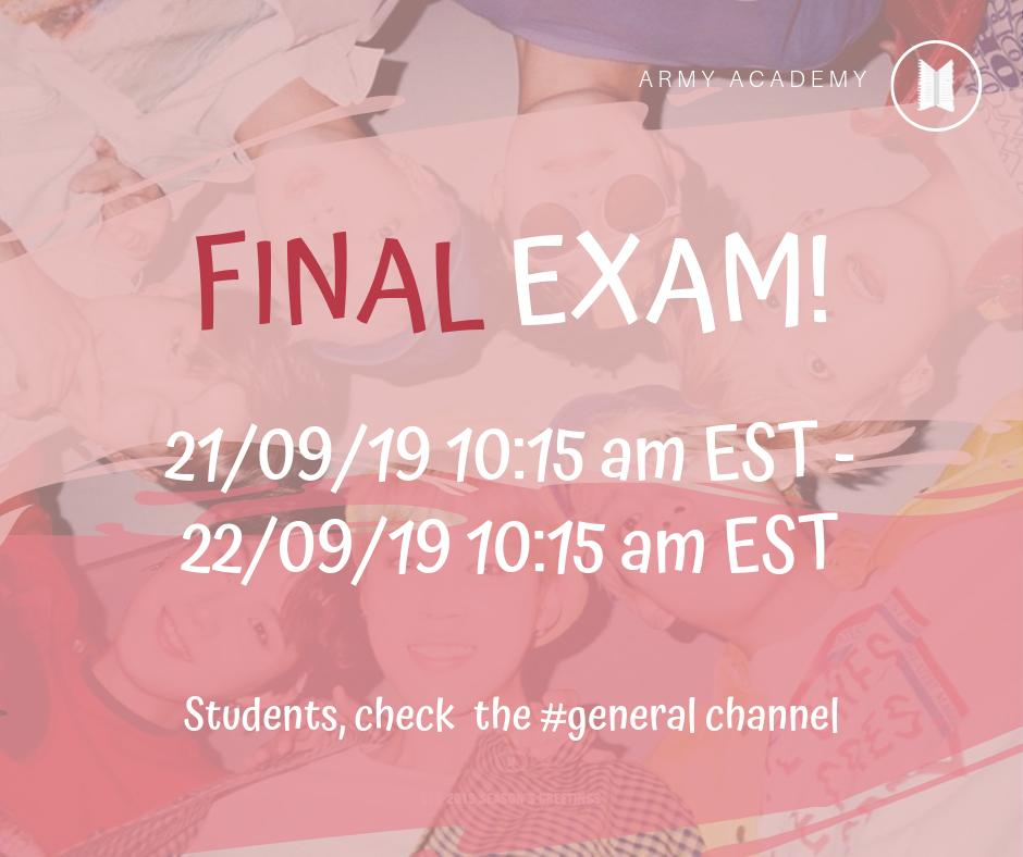 Today Armys participating in our Korean Course for beginners are taking the final exam! Good luck to everyone 💜 Students, please check our # general discord channel for more details. #BoyWithLuv #TheMusicVideo #PCAs @BTS_twt