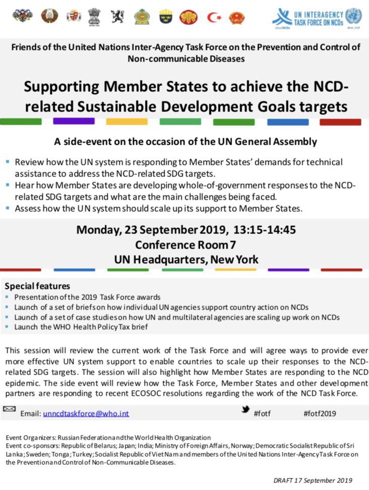 Join us next Monday for the meeting of the Friends of @un_ncd Task Force to agree next steps for @UN support to Member States to get on a right track in achieving #UHC and #NCDs-related #SDGs. WebEx translations starts at 13.15PM at http://webtv.un.org .