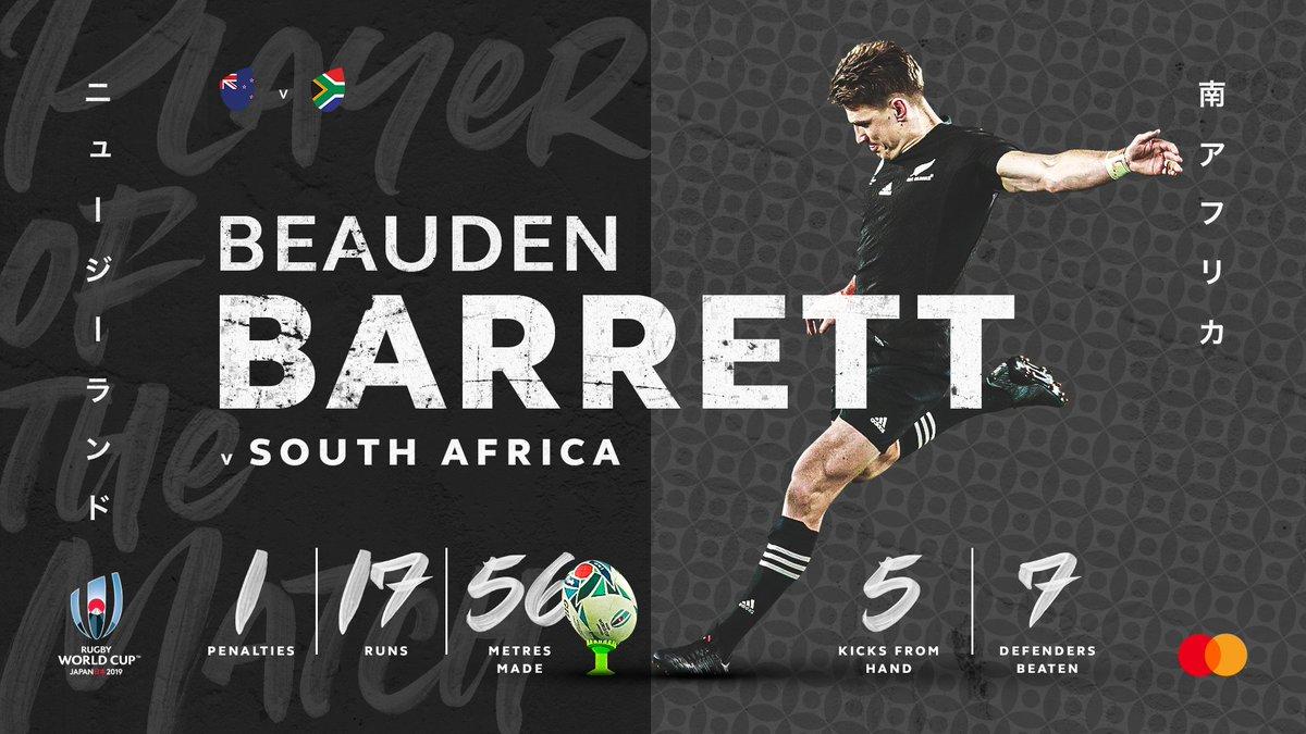 test Twitter Media - The @Mastercard #NZLvRSA Player of the Match - Beauden Barrett 👏  Barrett shined for the @allblacks as they defeated the Springboks in Yokohama   #RWC2019 #RWCYokohama #SuperSaturday https://t.co/AKMaYgiIek