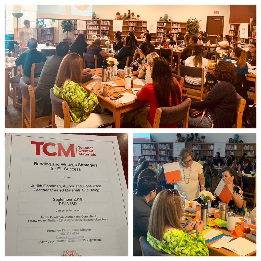 Working with a dynamic group of @PSJAISD #EL #bilingual teachers this #SaturdayMorning with the amazing @JudithGoodman2 @tcmpub #mytcm #reading #writing #ELs Full house of dedicated professionals<br>http://pic.twitter.com/T2lpFToR46