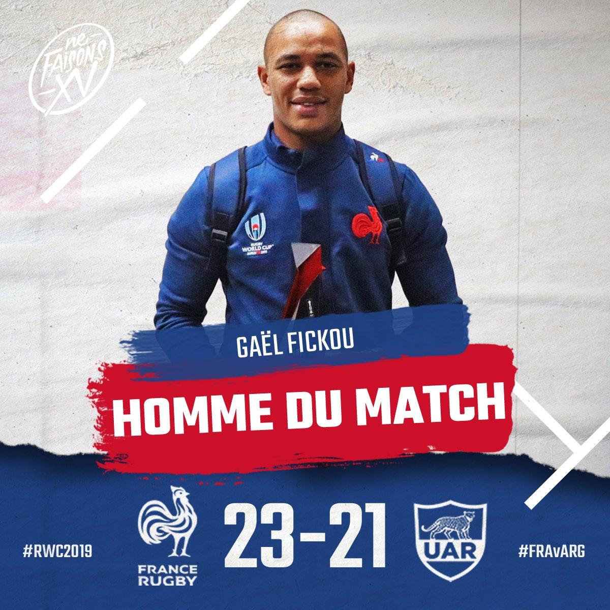 🇫🇷🇦🇷 Il a marqué le premier essai des Bleus dans cette Coupe du Monde et il a été élu par la @rugbyworldcup homme du match ! Du ❤️ pour @FickouG ! #NeFaisonsXV #RWC2019 #FRAvARG #XVdeFrance