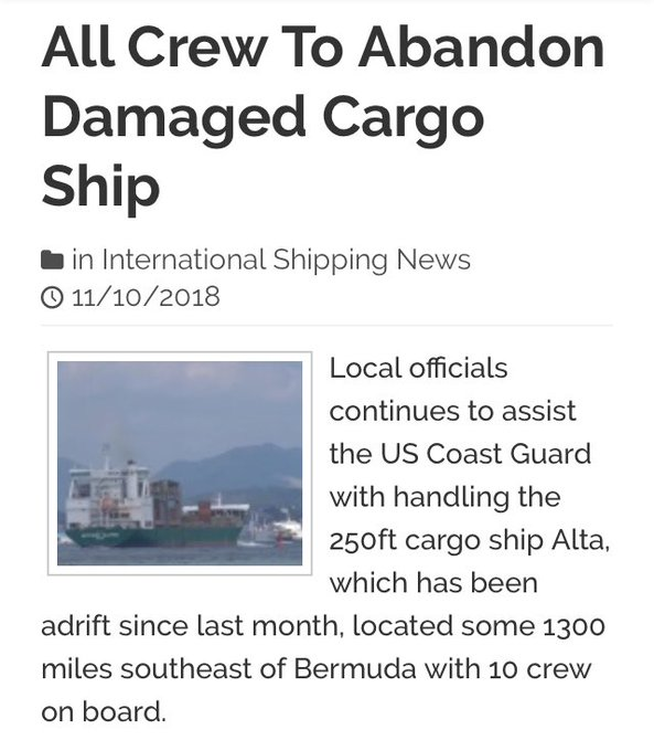 News report of the MV Alta's abandonment.