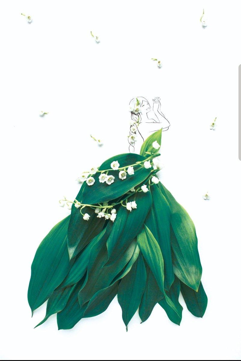 #鈴蘭ドレス鈴蘭の美しい緑と葉脈を再現✨葉に光が当たっているような色合いは自然の美しさ、生花のみずみずしさを演出。鈴蘭の花部分がアクセントになっており、ゆれるたびに花嫁さまに「幸せが訪れる」よう願いがこめられています。#花言葉 は「幸せが訪れる」#花言葉ドレス  #はな言葉