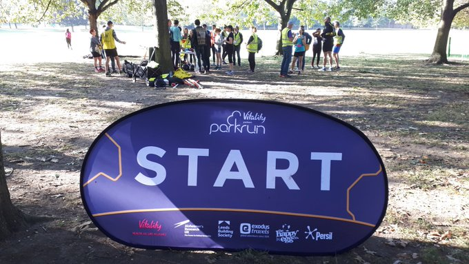 Start sign at Southwark parkrun
