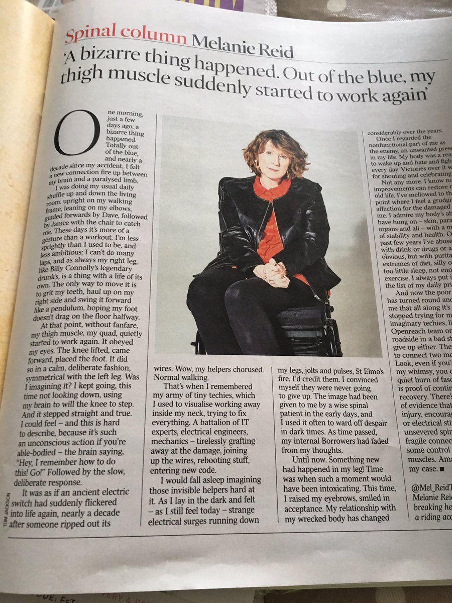 "Forget DC - this is the most extraordinary piece in @thetimes mag today - @Mel_ReidTimes on how her body has started to repair - ""neurological recovery"" - years after spinal injury."
