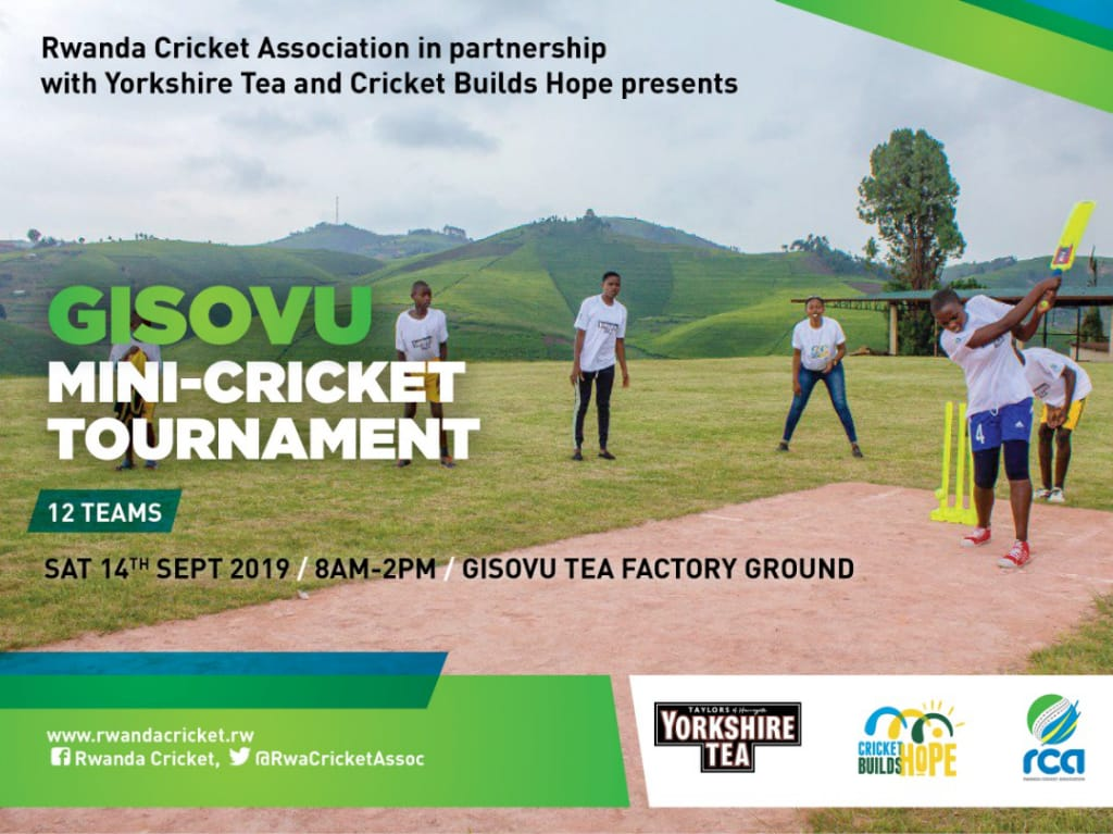 The first ever Gisovu Tea Estate mini-cricket tournament kicks off in style at the highest 🏏pitch in #Rwanda......brought to you by @YorkshireTea in partnership with @CricketBuilds and @RwaCricketAssoc. Stay tuned for more.... #criiio #Cricket4all 🏏☕