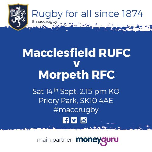 test Twitter Media - Reminder! Kick-off for 1st v Morpeth is a home game and will commence at 2:15 pm! #MaccRugby 🏉 https://t.co/JTGk9LOkMy