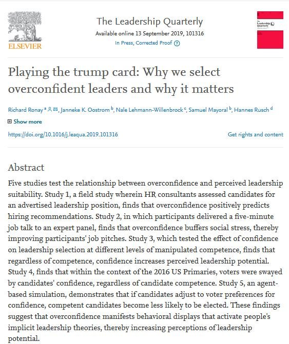 Playing the trump card: Why we select overconfident leaders and why it matters   https:// doi.org/10.1016/j.leaq ua.2019.101316   …   #EconTwitter #AcademicTwitter #TheLeadershipQuarterly<br>http://pic.twitter.com/wWw0zKpzep