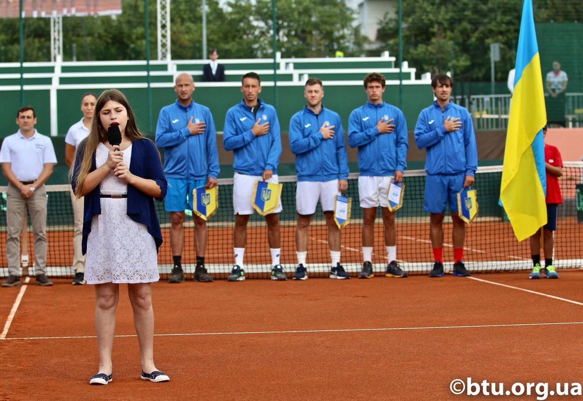 Гимн Украины на церемонии открытия матча Кубка Дэвиса (ВИДЕО)