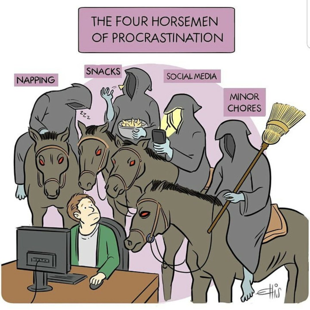 Couldn't agree more! What do you think are some of your horsemen of procrastination?? #AcademicTwitter #AcademicChatter #phdchat #phdlife<br>http://pic.twitter.com/GZXNRrZ8ni