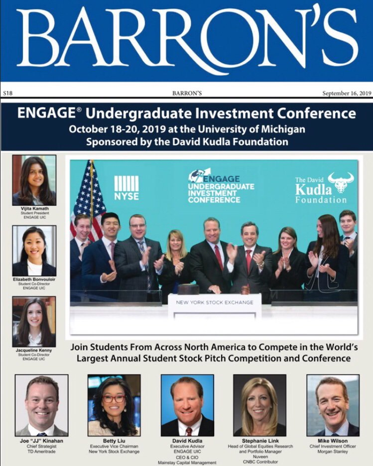Check out our announcement for the ENGAGE Undergraduate Investment Conference on page S18 of this coming week's edition of Barron's.