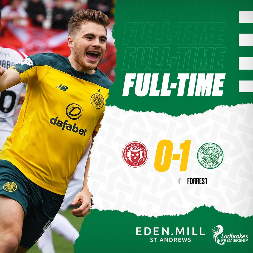 James Forrest's early goal secures the Bhoys all three points! 🍀⚪️ #HAMCEL