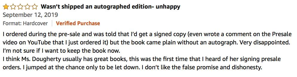 Conflicted about this.Our book pre-order campaign with small, independent bookstores across the country went so well. But some folks thought pre-order meant everywhere they bought the book, including Amazon, and are now leaving reviews about what a dishonest person I am.