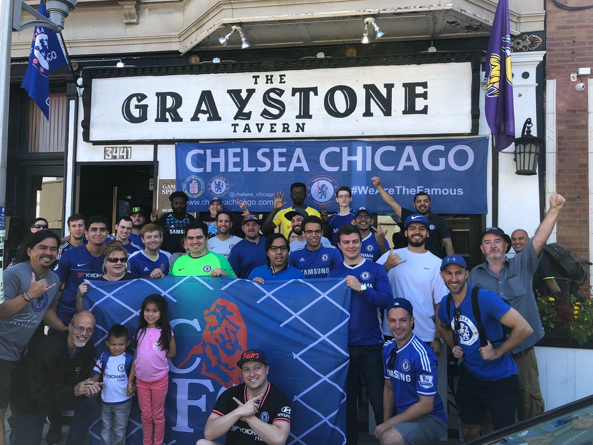 Good to have members from @DallasShedEnd @OhioChelsea & @BreatheChels at @graystonetavern today. @CFCInAmerica #WeAreTheFamous