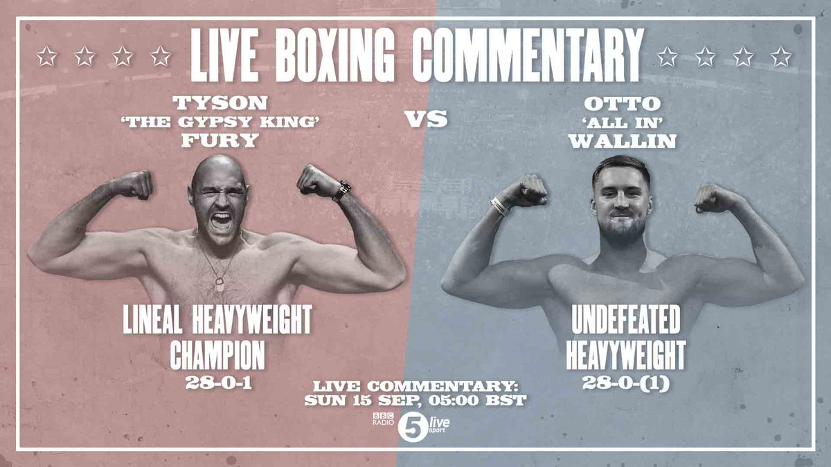 🥊 L I V E    B O X I N G 🥊Join us for live commentary of #FuryWallin from Las Vegas Mike Costello will be calling the action as @Tyson_Fury aims to continue his undefeated streak 💥Listen to the fight week podcast:📲https://bbc.in/2rR4cGY#bbcboxing