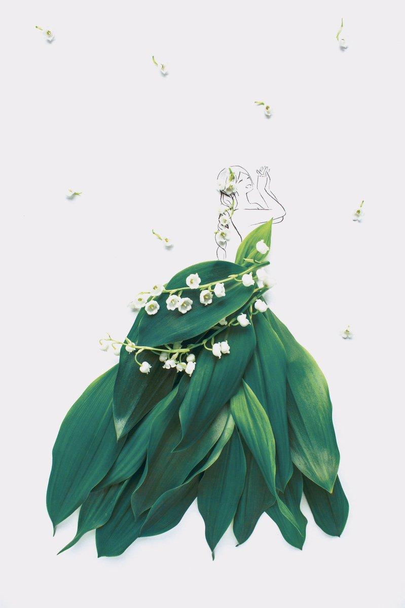 スズランのドレススズランの印象的な葉を細部まで表現し、鈴のような可愛い花をウエストのアクセントにしました。#花言葉ドレス #鈴蘭ドレス花言葉は「幸せが訪れる」「あふれ出る美しさ」「希望」