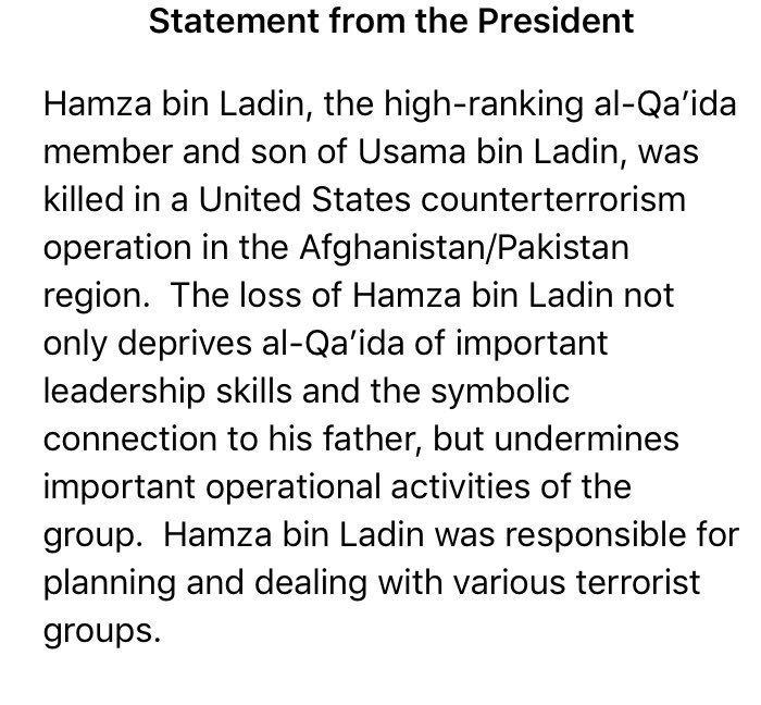 BREAKING: US President Donald Trump confirms Hamza bin Laden, son of Al Qaeda Terrorist Osama bin Laden has been killed during a counter-terrorism operation in Afghanistan/Pakistan region.  Osama was also killed inside Pakistan. Why all terrorists are found in Pakistan region?<br>http://pic.twitter.com/2bxPDXfCEw