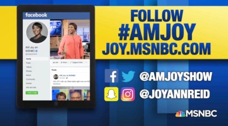 #AMJoy with @JoyAnnReid starts right now on @MSNBC! Let's get our hashtag trending, #reiders! https://t.co/JSrqlmKDKN