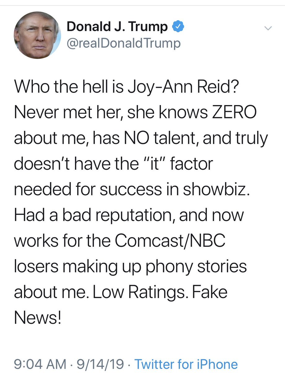 This unhinged tweet proves one thing: @JoyAnnReid is crushing Trump with true, accurate, uncompromising, unflinching, fair and balanced reporting and commentary. And Trump can't stand it. @amjoyshow @MSNBC https://t.co/CWGsdD59Mi