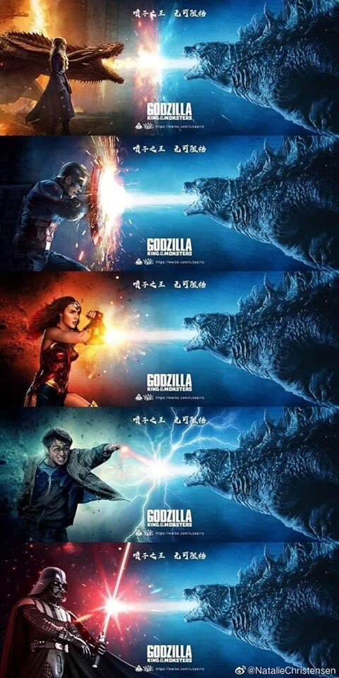 #QuestionOfTheDay   #WhoWouldWin in each of these battles? How would #Godzilla do in the individual universes of #GameOfThrones, #StarWars, #HarryPotter, #Marvel / #MCU and #DC / #DCEU ?<br>http://pic.twitter.com/XqWJcD2edP