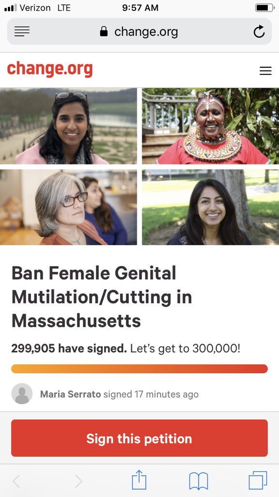 AMAZING! So close to hitting 300k signature goal! Sign, If you haven't! On Sep 18, holding press conference at @MAStateHouse on @Change petition and MA bill sponsored by @Rep_Higgins @jaylivingstone @joeboncore to ban FGC in MA! @USEndFGMNetwork change.org/p/ban-female-g…