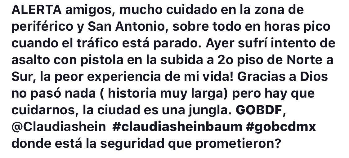 Cada vez se hace más común vivir con miedo en la CDMX y compartir historias como esta. @Claudiashein ¿Dónde está la seguridad que nos prometieron?