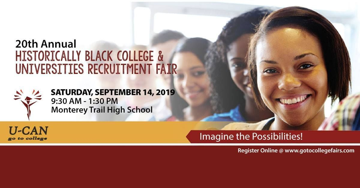 The 20th Annual Historically Black College and University (HBCU) Recruitment Fair will be hosted this Saturday, September 14 from 9:30am - 1:30pm at Monterey Trail High School. https://t.co/djHbQu0Om8