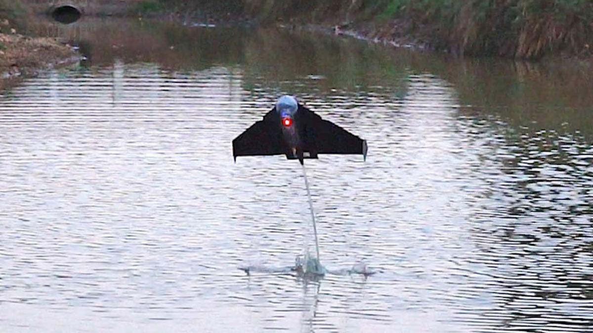 Este pez robot puede saltar desde el agua y después volar.