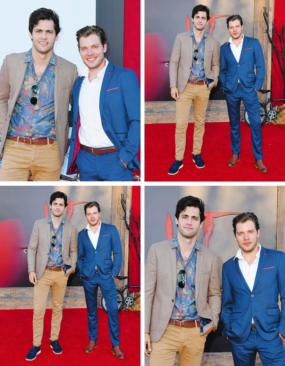 """Matthew Daddario and Dominic Sherwood attend the Premiere Of Warner Bros. Pictures' """"It Chapter Two"""" at Regency Village Theatre on August 26, 2019 in Westwood, California.    @MatthewDaddario @DomSherwood1   #SaveShadowhunters<br>http://pic.twitter.com/coQYPpgGdz"""