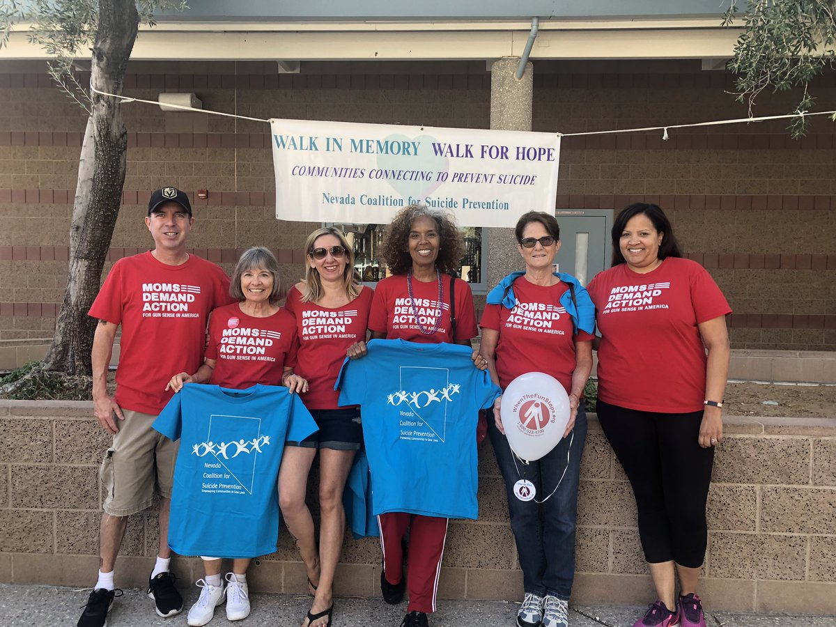 @MomsDemand  joined together today to Walk for Hope. 2/3 of all gun deaths are by suicide, but without a gun fewer than five percent of suicide attempts result in death. Removing guns from a crisis situation can save lives. Thank you Nevada Coalition for Suicide Prevention. <br>http://pic.twitter.com/c9lBSmDKaO