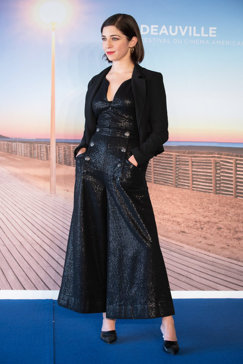 Movie directorAnnabelle Attanasio presented her latest movie 'Mickey and the Bear' in a black embroidered silk jumpsuit from the #CHANELMetiersdArt 2017/18 Paris-Hamburg collection paired with a black wool jacket, at #Deauville2019.#CHANELinCinema