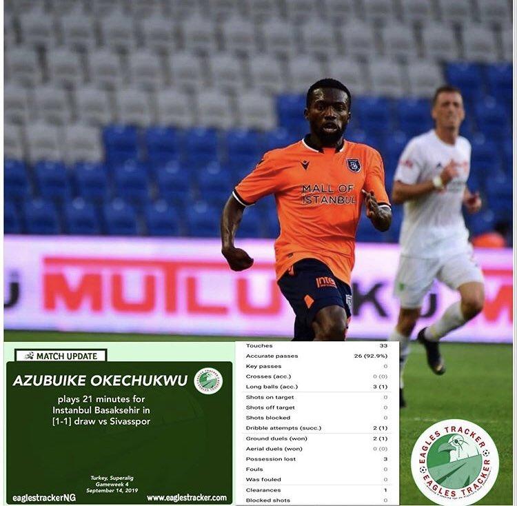 #u23eagles captain, Azubuike Okechukwu @aazzuu14 was a 69th min sub for #medipol #istanbul #basaksehir in their #turkey  #superlig draw vs #sivasspor ————————————— #eaglestracker #okechukwu #azubuikeokechukwu #naijafootball #soaru23eagles #i̇stanbulbaşakşehir #team9jastrong <br>http://pic.twitter.com/qHWweax0Dg