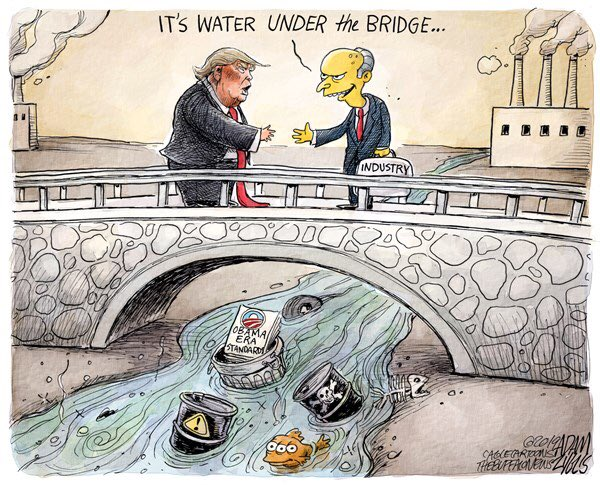 Trump's EPA undoes Obama era clean water standards without blinking. #CleanWaterRule