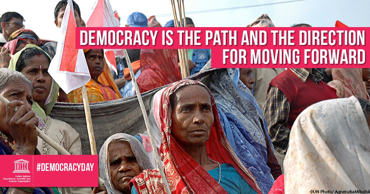 No to abuse. No to violence.  No to repression.  Yes to justice. Yes to freedom.  Yes to #Democracy.  Join us on Sunday to celebrate International #DemocracyDay!    https:// on.unesco.org/2MreuVW     <br>http://pic.twitter.com/BZj6GEYfcp