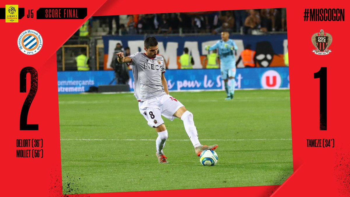 It's all over at the Mosson. A first away defeat of the season for Les Aiglons, who lose 2-1 against @MontpellierHSC. #MHSCOGCN <br>http://pic.twitter.com/Z5TGZhNsxZ