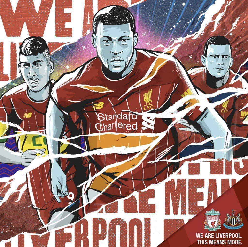 The #ThisMeansMore project marches on as @Scott_McRoy illustrated this excellent piece for today's game v Newcastle. With the players rushing back from international football, Scott interpreted the brief superbly depicting the national kits ripping away to reveal the LFC kits.
