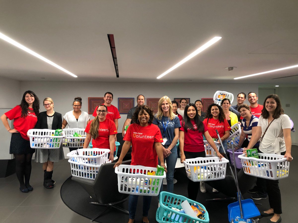 A shout out to @WellsFargo for assembling 20 baskets of cleaning supplies yesterday to help our participants settle into their new homes!
