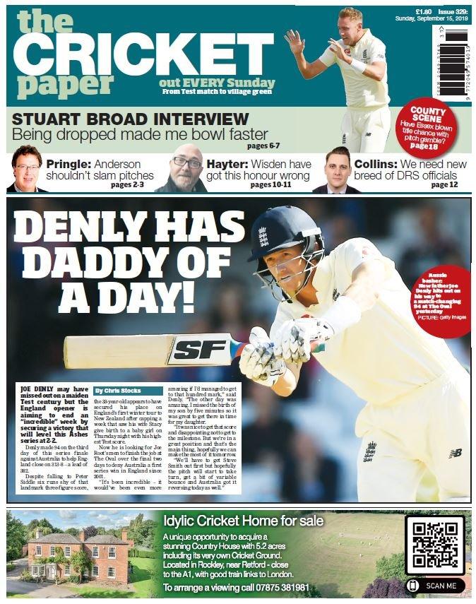 FRONT: Joe Denly puts England in command but falls just short of maiden ton  #Ashes #ENGvsAUS <br>http://pic.twitter.com/FWHXNR5j3b