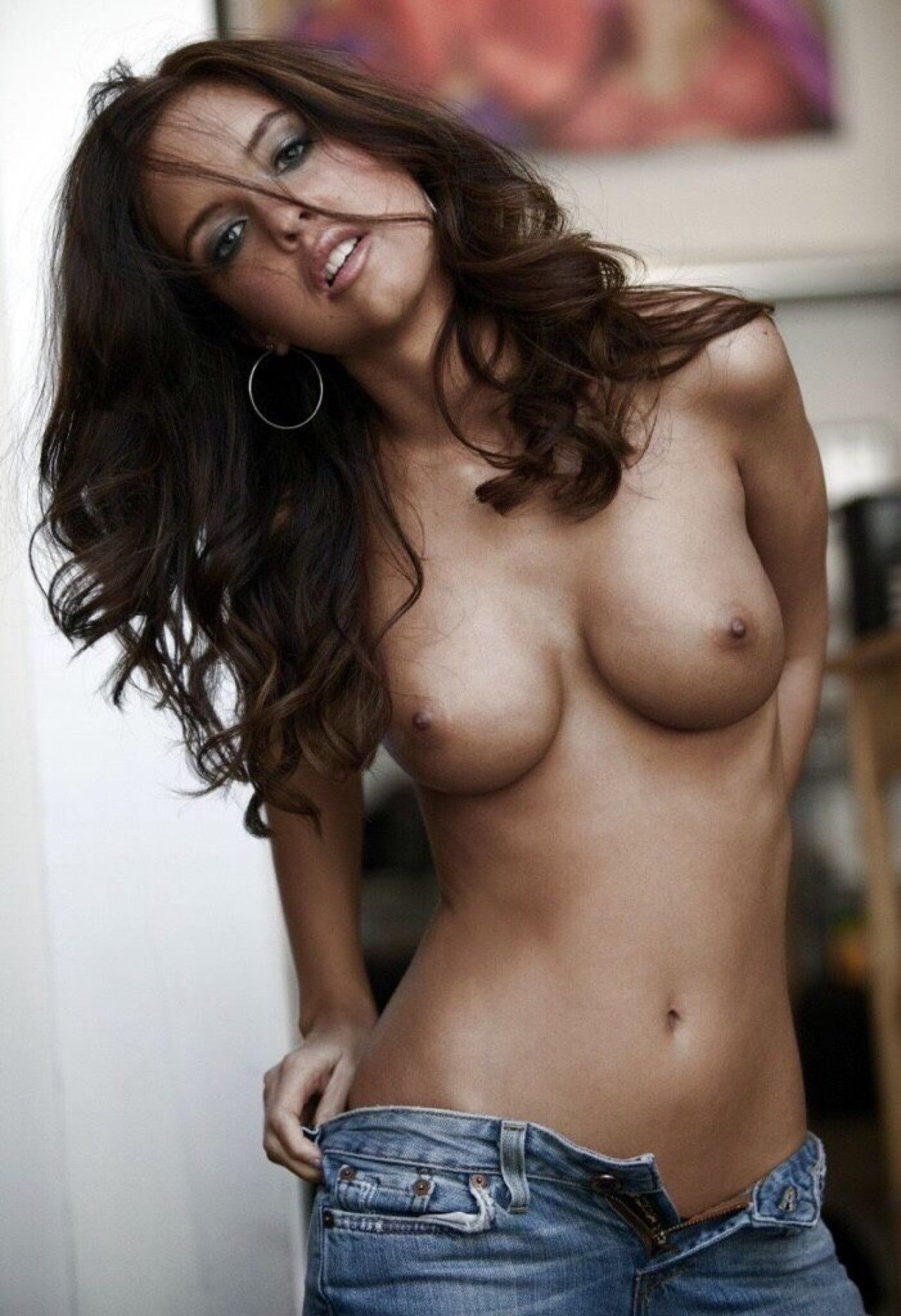 Hot topless girl wearing jeans #7