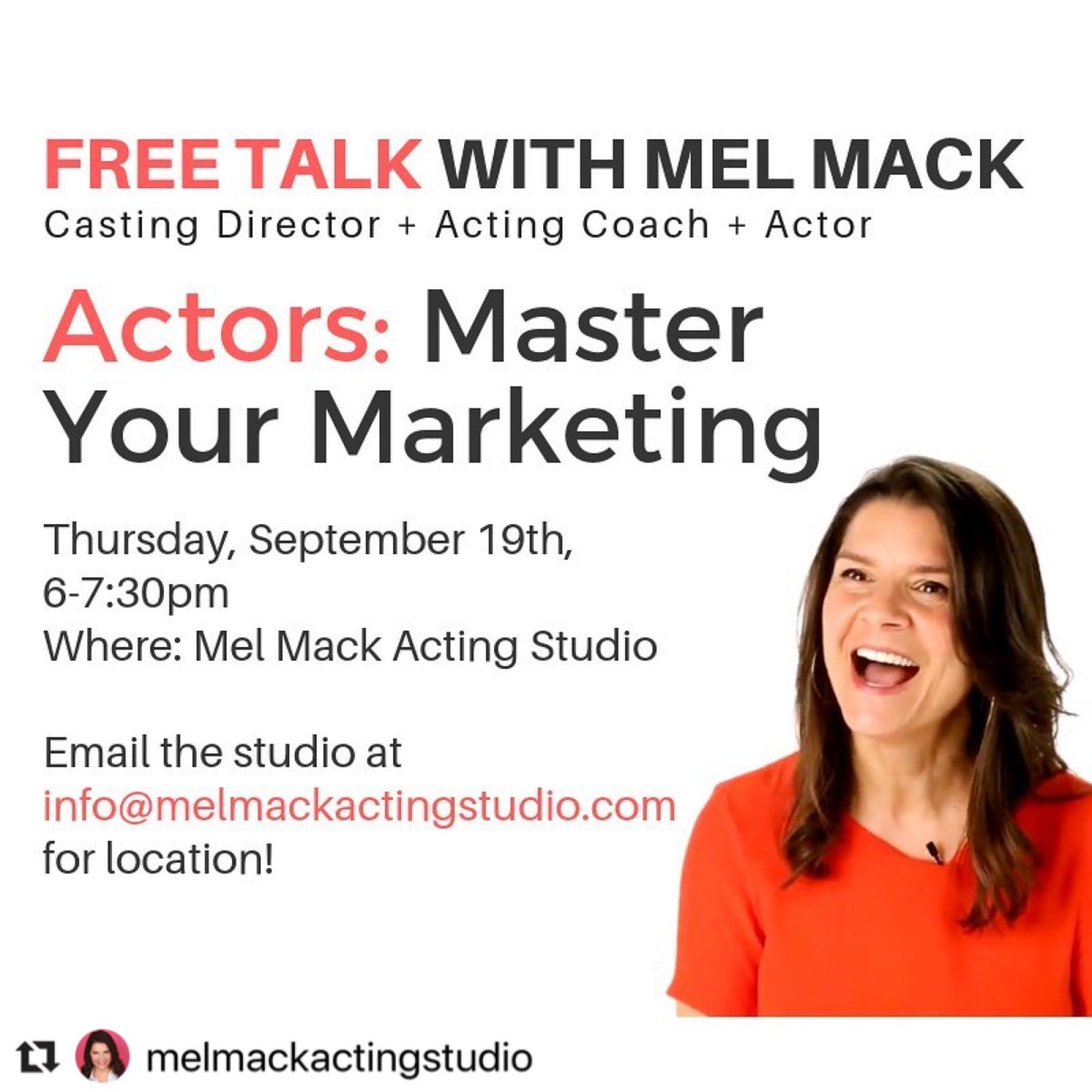 #Repost @melmackactingstudio - Her next FREE TALK is just around the corner! Master Your Marketing. Sept, 19th from 6:00-7:30pm. • • • #actorswithskills #actorshooting #actorsprocess #NYCpic.twitter.com/nHbemCjoKp