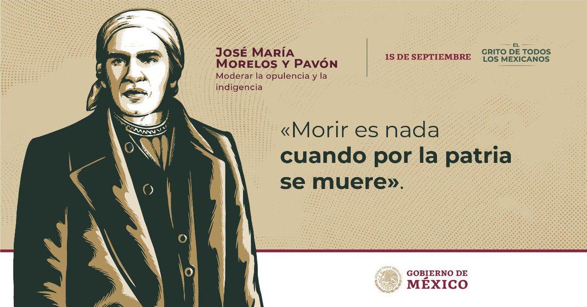 RT @cultura_mx: #GritoDeIndependencia 🇲🇽  «Moderar la opulencia y la indigencia»  José María Morelos https://t.co/OjHjWus7ow