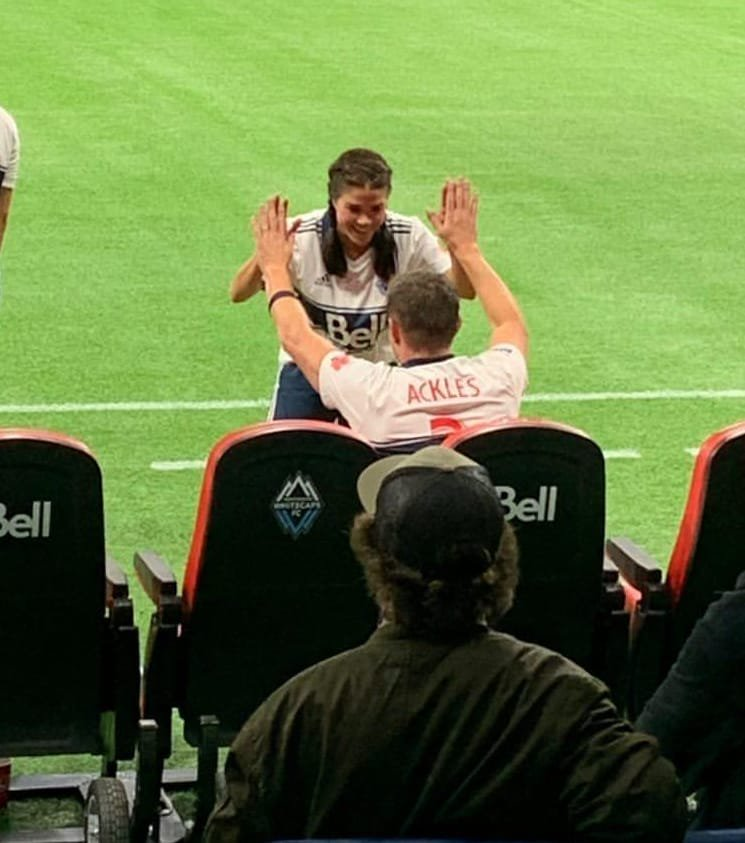 Marie giving a high five to Jensen Ackles at Vancouver Whitecaps Legends & Stars charity match  #VWFC <br>http://pic.twitter.com/4RXnC4ESNM