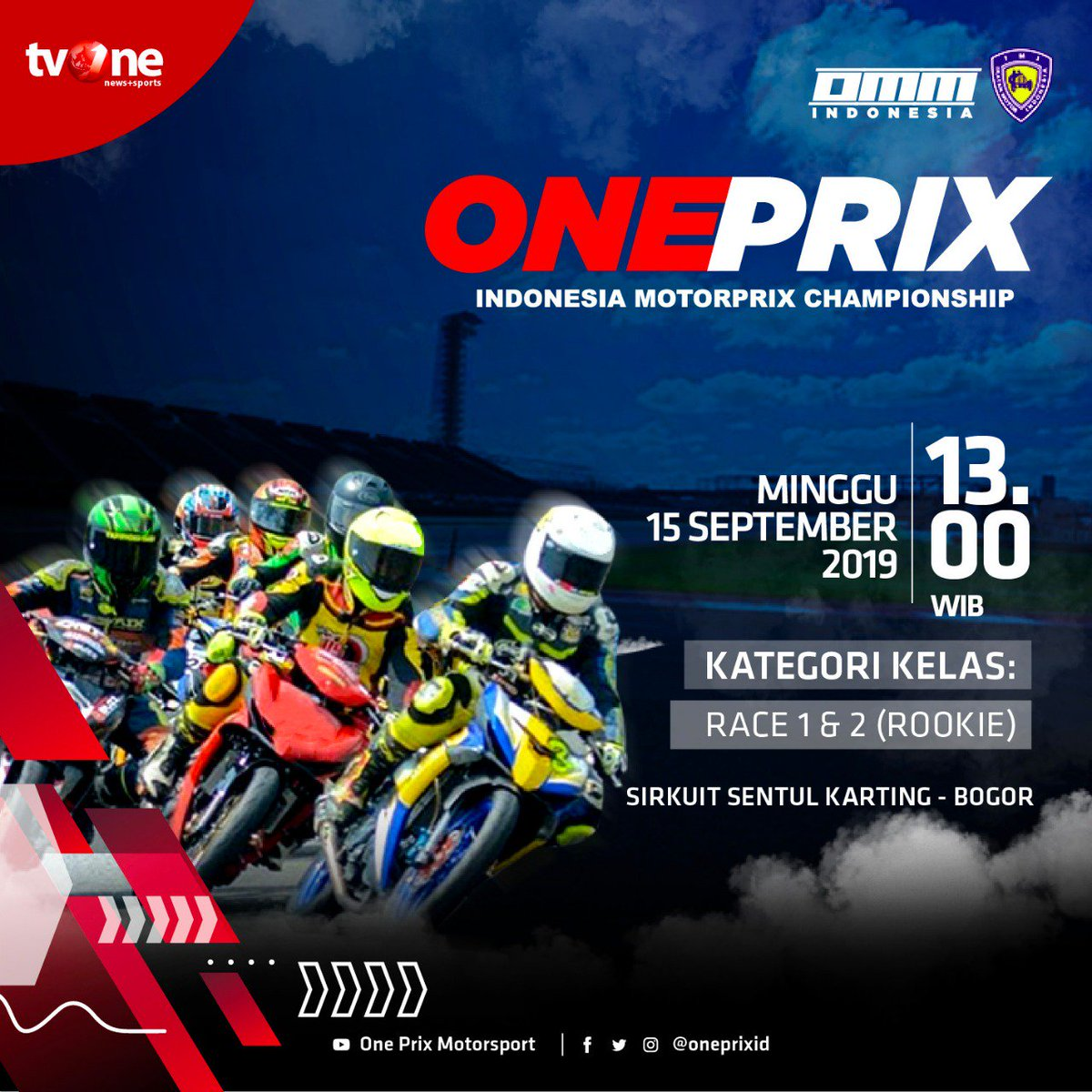 Jangan lewatkan race seru putaran 3 @oneprixid Indonesia Motorprix Championship kelas Rookie. Minggu, 15 September 2019 jam 13.00 WIB hanya di tvOne & streaming di tvOne connect, android http://bit.ly/2EMxVdm  & ios https://apple.co/2CPK6U3  #Oneprix #OneprixSentul