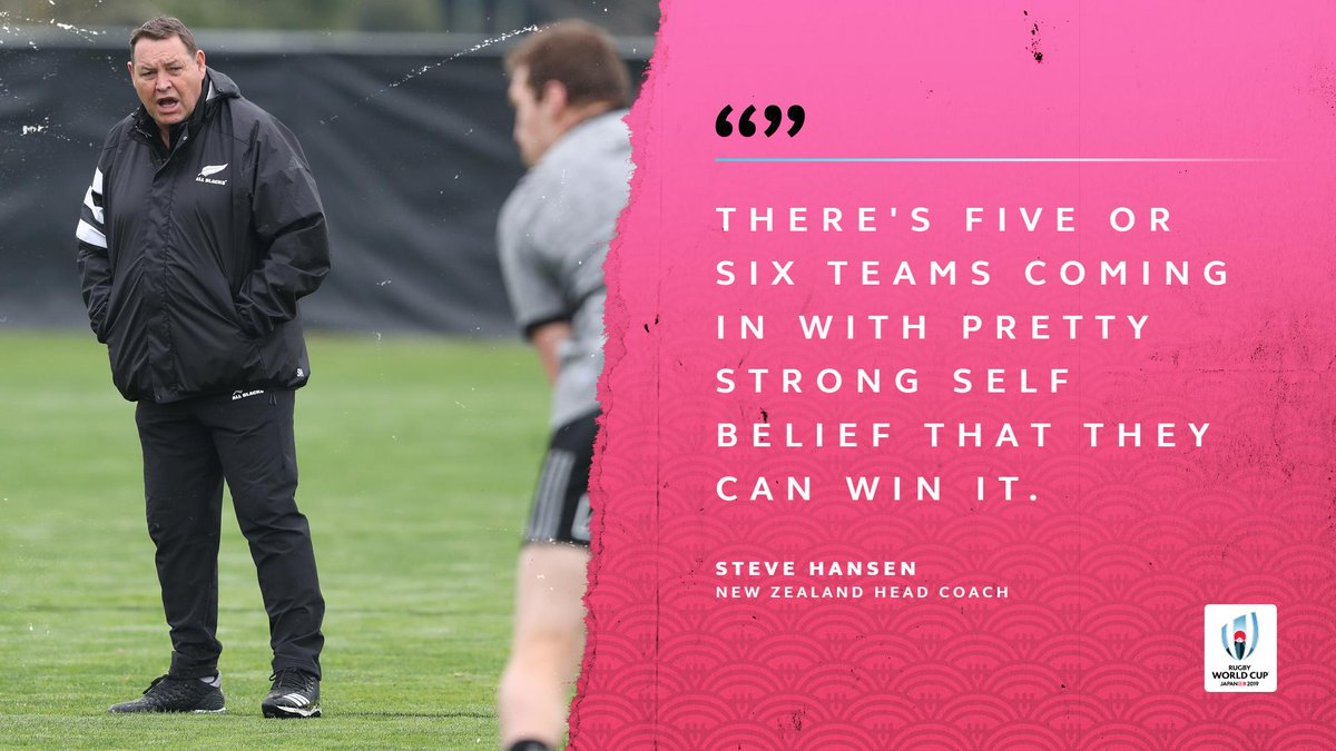 test Twitter Media - .@AllBlacks head coach Steve Hansen thinks this might be one of the most competitive Rugby World Cups he's experienced.   Who do you think is in with a shout of winning #RWC2019? https://t.co/dGgCP2paaD