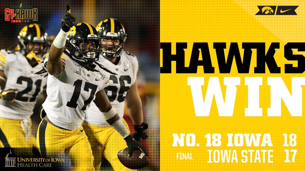 HAWKS WIN!!!  FIVE straight #IowaCornCyHawkSeries wins! #FightForIowa<br>http://pic.twitter.com/MwN9pR5PGM