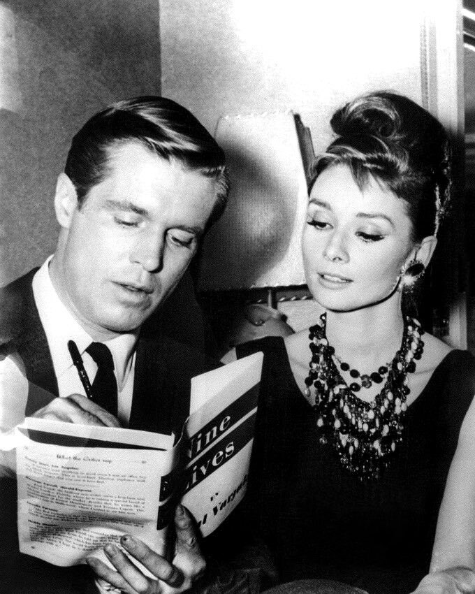 George Peppard and Audrey Hepburn in a publicity photo for Breakfast at Tiffany's (1961) <br>http://pic.twitter.com/TtaNI5CQzO